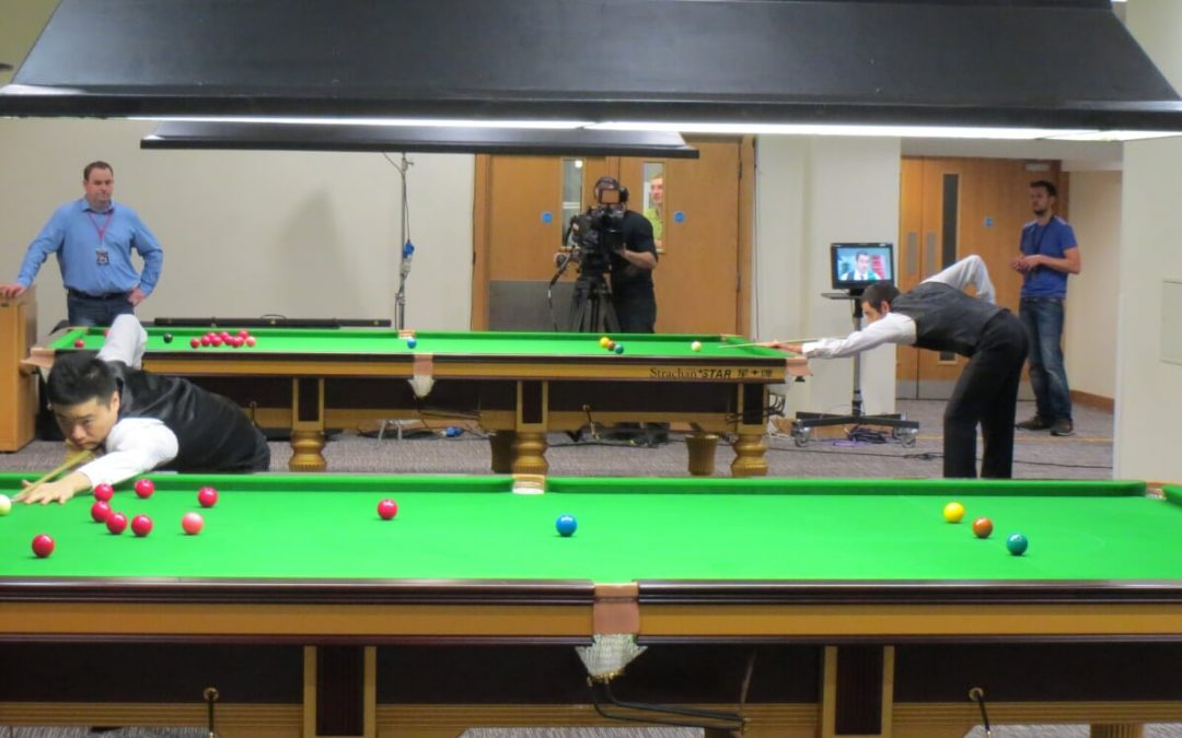 Photo of Ding Junhui and Ronnie O'Sullivan practicing