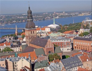 Riga Open will be played in Riga. The photo is of the Riga Old Town with the Cathedral in the center