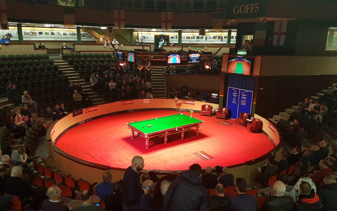 Photo of a Snooker table in the middle of the arena at Goffs bloodstock auction